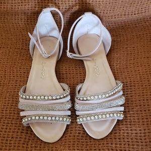 Beige ankle strap sandals